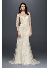 lace wedding dresses sleeve illusion lace wedding dress david s bridal
