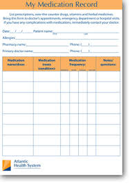 medication card template my medication record atlantic health