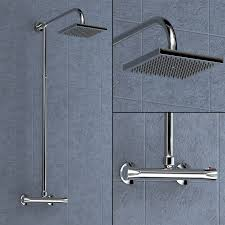 round or square twin head thermostatic shower mixer chrome