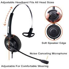 amazon com arama wired headset mono w noise canceling mic for