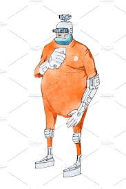 Prison Jumpsuit Watercolor Illustration Of Cartoon Cyborg Or Humanoid Robot