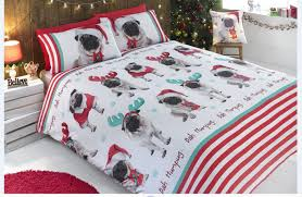 Dog Duvet Covers Father Christmas Santa King Size Duvet Cover Bed Set Pug Dog Sweet