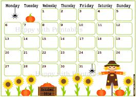 printable calendar 2016 etsy october calendar 2016 printable