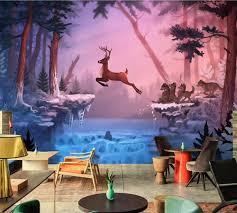 Wohnzimmer Bar Restaurant Deer Wölfe Winter Natur Tiere Fototapete Ktv Bar Wohnzimmer Tv