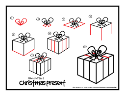 how to draw a christmas present art for kids hub doodles
