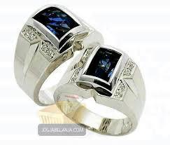 model cincin blue safir cincin kawin jaan levi perak lapis emas batu blue safir cincin