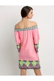 Pink Off Shoulder Printed Straight Casual Dress