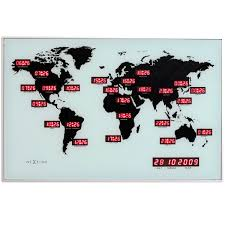 World Time Map Uk Nextime Digital Timezone Map Wall Clock Contemporary Heaven