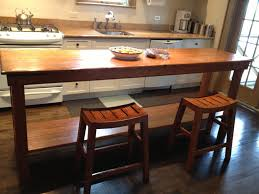 long narrow tables with shelf and bar stools for galley kitchen