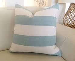 Coastal Cushions Striped Pillows Seafoam Stripes Ecru