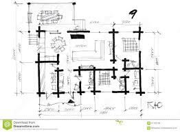 monochrome freehand of a house layout stock illustration image