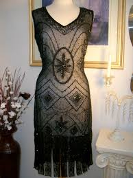 1920s style great gatsby black beaded flapper dress s m l xl or