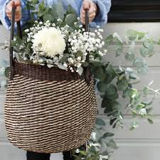 wicker basket with leather handles buy round seagrass basket with leather handles oxfam shop