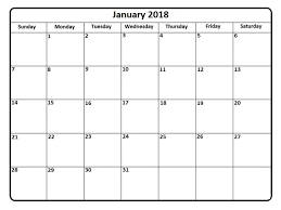 january 2018 calendar template free excel download