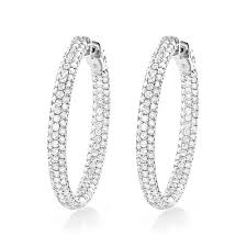 inside out diamond hoop earrings gold inside out diamond hoop earrings 5ct 1 5in