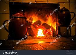 chimney kitchen hearth burning rural house stock photo 147261119