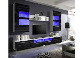 Wohnzimmerschrank Folieren Wohnwand Sahara Schwarz Hochglanz Weiss Mit Beleuchtung Woody 61