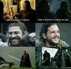 John Snow Meme - jon snow and eddard stark parallels game of thrones funny humor