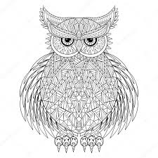 hand drawn zentangle owl bird totem for coloring page in