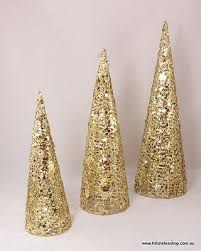 set of 3 metal sequin glitter cone trees decoration