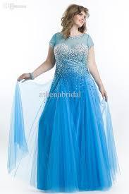 ocean royal blue long plus size prom dresses sheer neck short