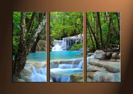 Floral Waterfall Window 1 Piece 3 Piece Canvas Wall Art