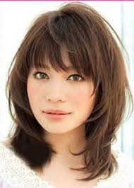 medium length hairstyles front and back with bangs sweet layered bob hairstyle mid lenght straight capless synthetic