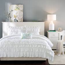 White Bedding Decorating Ideas Bedroom White Bedspread Design With Standing Lamp And Brown