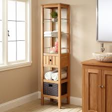 Bathroom Tower Shelves Jolon Teak Tower With Rattan Basket Bathroom