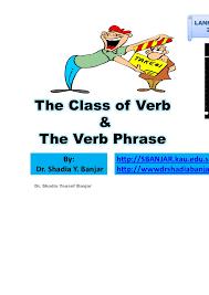 the class of verb u0026 verb phrases presentation 7