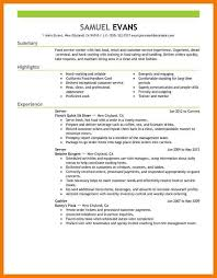 Food Runner Job Description For Resume Fast Food Resume Experience Eliolera Com