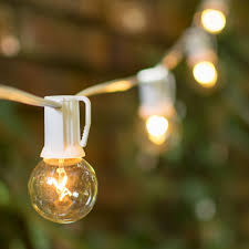 Hanging String Lights by 1 5 In E17 Bulbs 50 Ft White Wire C9 Strand Clear White Globe