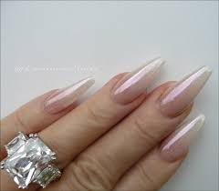luminous nails stunning pearly ombre chrome acrylic nails