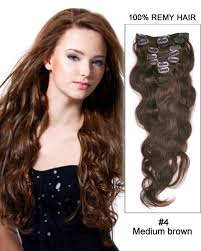 22 inch hair extensions 7pcs wave 100 remy hair clip in hair extensions 4 medium brown