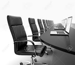 3d render of conference room with black table black leather chairs