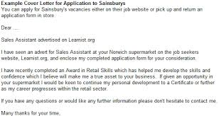 example cover letter for application to sainsburys forums
