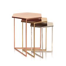 set of three end tables set of three hexagon metallic nesting tables oliver bonas tables