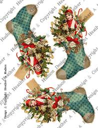 heather a hudson victorian boy christmas stocking collage sheet