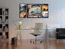 art wall decor ideas for home office with classic car painting set