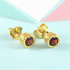 garnet stud earrings gold and garnet january birthstone stud earrings by embers