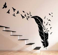 birds flying out feather wall decal birds flying out feather wall decal