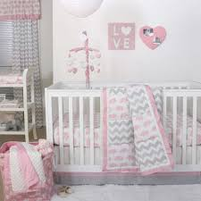 Pink Gray Crib Bedding The Peanut Shell Elephant Crib Bedding Collection In Pink Grey