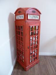Red Phone Booth Cabinet Handmade Telephone Box Display Cabinet Display Cabinets