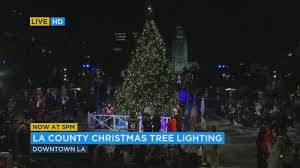 arrives in downtown los angeles at annual tree lighting