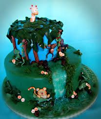 jungle theme baby shower cake jungle themed baby shower cake with waterfall cakecentral