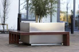 Planter Bench Seat Stainless Steel Planter Wooden Rectangular With Integrated