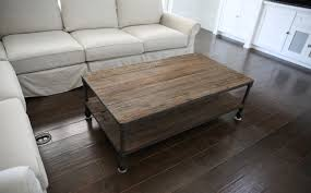 remarkable rectangle brown wood metal industrial coffee table