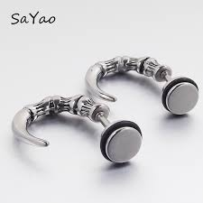 mens earring studs sayao 2 rock stainless steel earring studs mens girl