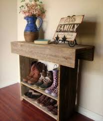 pallet wood redone to create a shoe rack pallet furniture diy