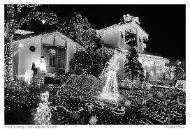 black and white picture photo house with christmas lights san